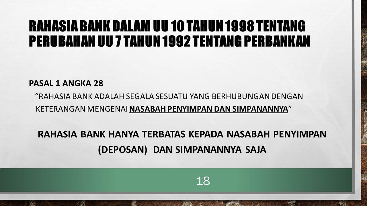 "RAHASIA BANK DALAM UU 10 TAHUN 1998 TENTANG PERUBAHAN UU 7 TAHUN 1992 TENTANG PERBANKAN PASAL 1 ANGKA 28 ""RAHASIA BANK ADALAH SEGALA SESUATU YANG BERH"