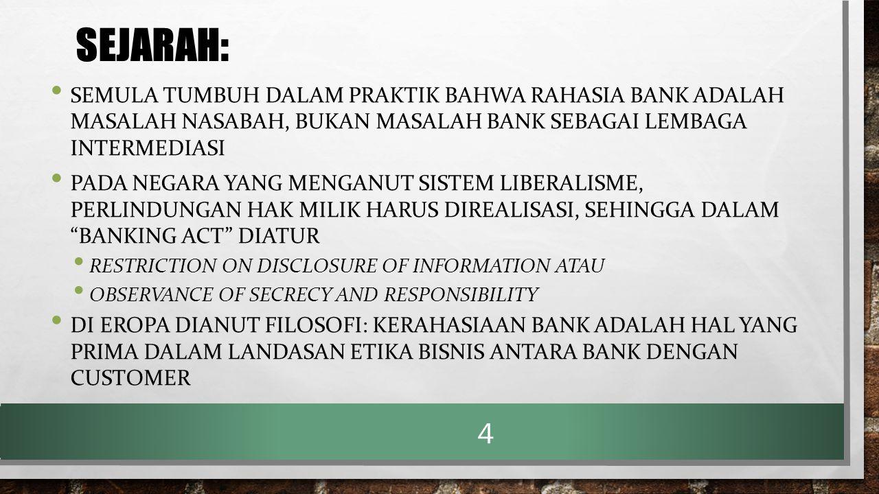 LANJUTAN ……..SEJARAH SWISS: KEWAJIBAN MENJAGA RAHASIA BANK BERDASAR: 1.