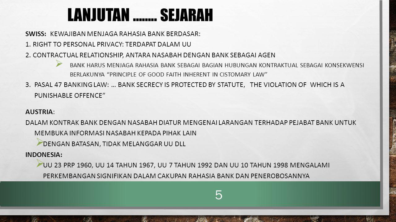 LANJUTAN …….. SEJARAH SWISS: KEWAJIBAN MENJAGA RAHASIA BANK BERDASAR: 1. RIGHT TO PERSONAL PRIVACY: TERDAPAT DALAM UU 2. CONTRACTUAL RELATIONSHIP, ANT