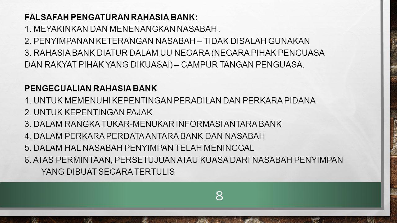 FALSAFAH PENGATURAN RAHASIA BANK: 1. MEYAKINKAN DAN MENENANGKAN NASABAH. 2. PENYIMPANAN KETERANGAN NASABAH – TIDAK DISALAH GUNAKAN 3. RAHASIA BANK DIA