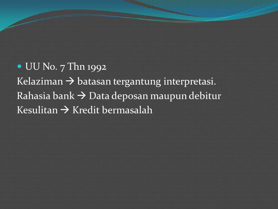UU No. 7 Thn 1992 Kelaziman  batasan tergantung interpretasi. Rahasia bank  Data deposan maupun debitur Kesulitan  Kredit bermasalah