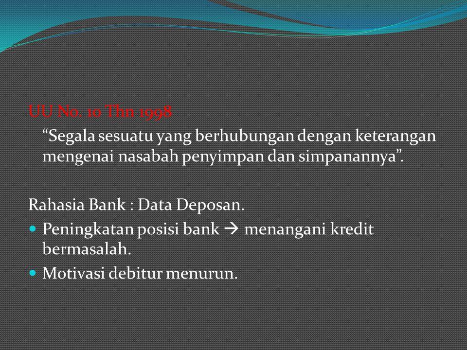 "UU No. 10 Thn 1998 ""Segala sesuatu yang berhubungan dengan keterangan mengenai nasabah penyimpan dan simpanannya"". Rahasia Bank : Data Deposan. Pening"