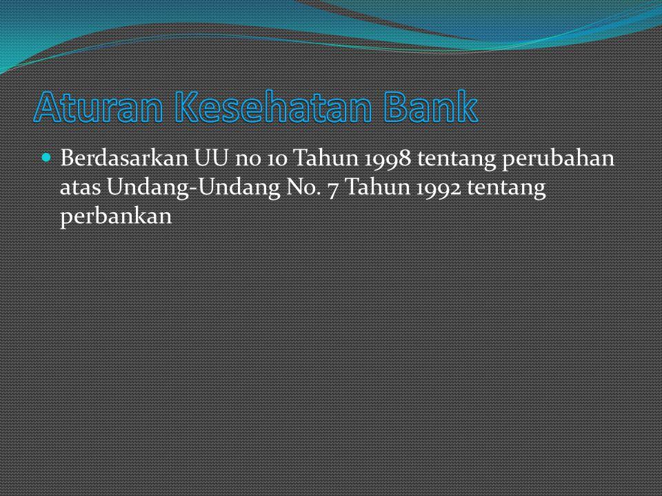 Berdasarkan UU no 10 Tahun 1998 tentang perubahan atas Undang-Undang No. 7 Tahun 1992 tentang perbankan