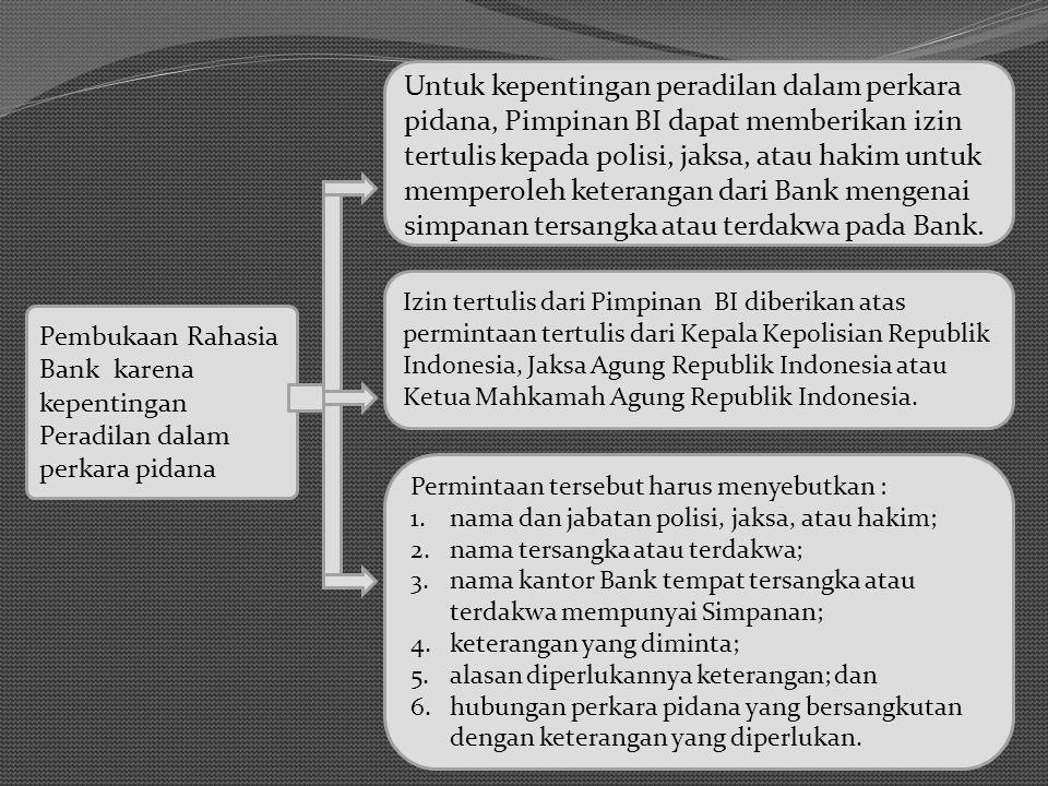 Pembukaan Rahasia Bank karena kepentingan Peradilan dalam perkara pidana Untuk kepentingan peradilan dalam perkara pidana, Pimpinan BI dapat memberika