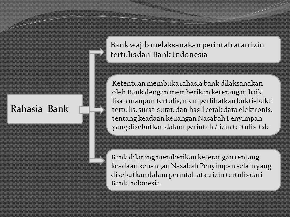 Rahasia Bank Bank wajib melaksanakan perintah atau izin tertulis dari Bank Indonesia Ketentuan membuka rahasia bank dilaksanakan oleh Bank dengan memb