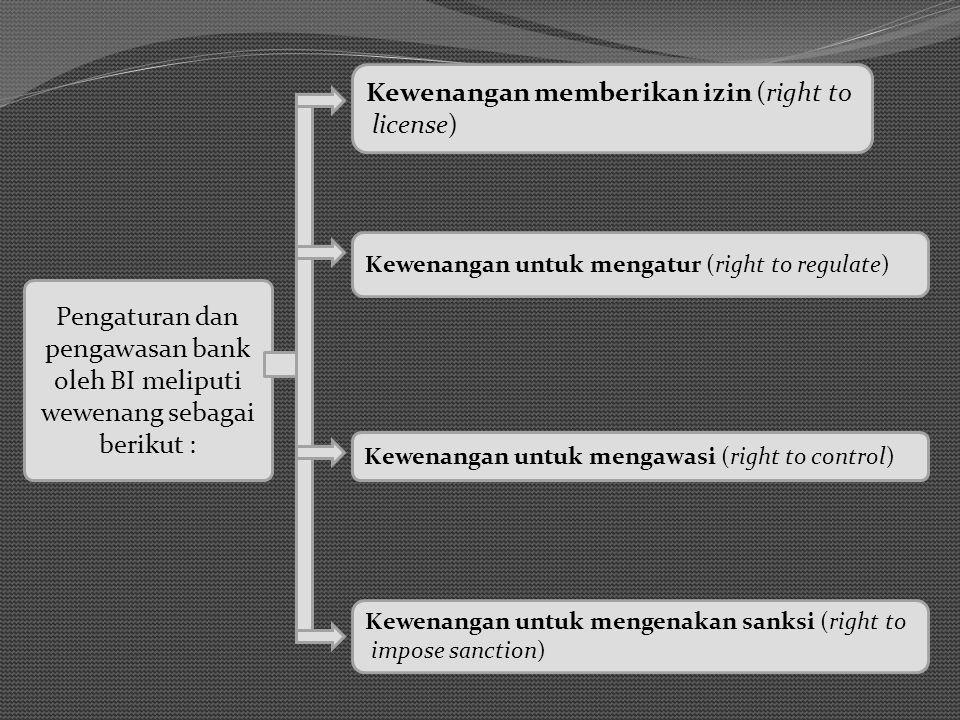 Pengaturan dan pengawasan bank oleh BI meliputi wewenang sebagai berikut : Kewenangan memberikan izin (right to license) Kewenangan untuk mengatur (ri