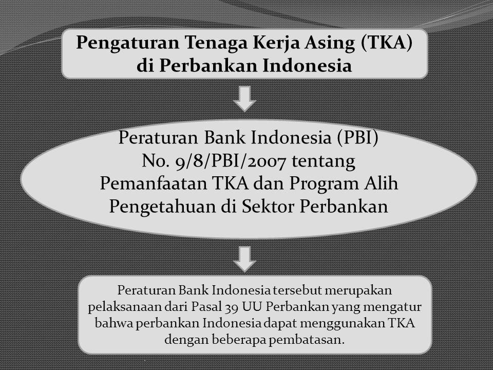 . Peraturan Bank Indonesia (PBI) No. 9/8/PBI/2007 tentang Pemanfaatan TKA dan Program Alih Pengetahuan di Sektor Perbankan Pengaturan Tenaga Kerja Asi