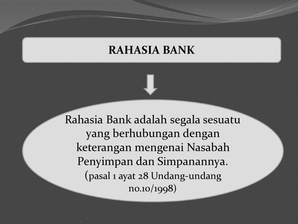 . Rahasia Bank adalah segala sesuatu yang berhubungan dengan keterangan mengenai Nasabah Penyimpan dan Simpanannya. ( pasal 1 ayat 28 Undang-undang no