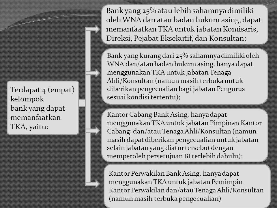 Terdapat 4 (empat) kelompok bank yang dapat memanfaatkan TKA, yaitu: Bank yang 25% atau lebih sahamnya dimiliki oleh WNA dan atau badan hukum asing, d