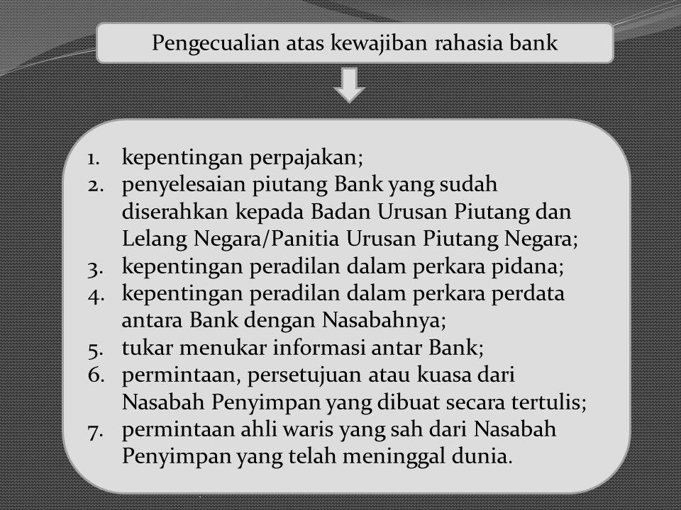 . Pengecualian atas kewajiban rahasia bank 1.kepentingan perpajakan; 2.penyelesaian piutang Bank yang sudah diserahkan kepada Badan Urusan Piutang dan
