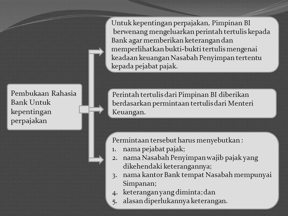 Pembukaan Rahasia Bank Untuk kepentingan perpajakan Untuk kepentingan perpajakan, Pimpinan BI berwenang mengeluarkan perintah tertulis kepada Bank aga