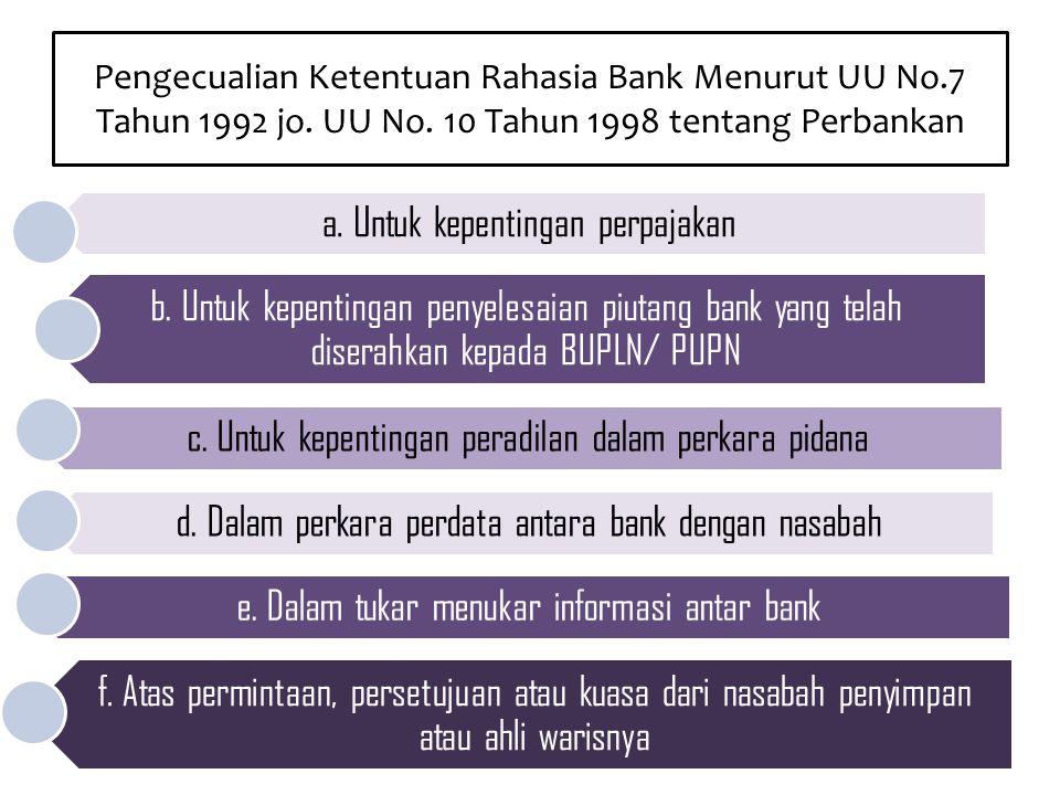 Pengecualian Ketentuan Rahasia Bank Menurut UU No.7 Tahun 1992 jo. UU No. 10 Tahun 1998 tentang Perbankan a. Untuk kepentingan perpajakan b. Untuk kep