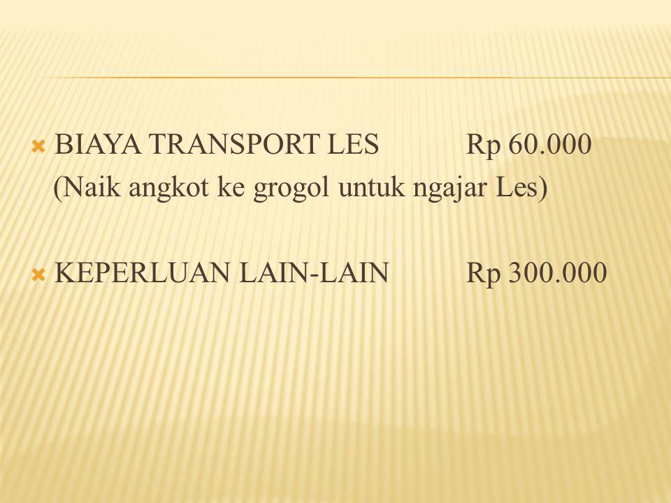 BIAYA TRANSPORT LESRp 60.000 (Naik angkot ke grogol untuk ngajar Les)  KEPERLUAN LAIN-LAINRp 300.000
