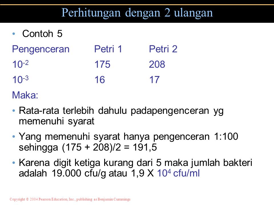 Copyright © 2004 Pearson Education, Inc., publishing as Benjamin Cummings Perhitungan dengan 2 ulangan Contoh 5 PengenceranPetri 1Petri 2 10 -2 175208