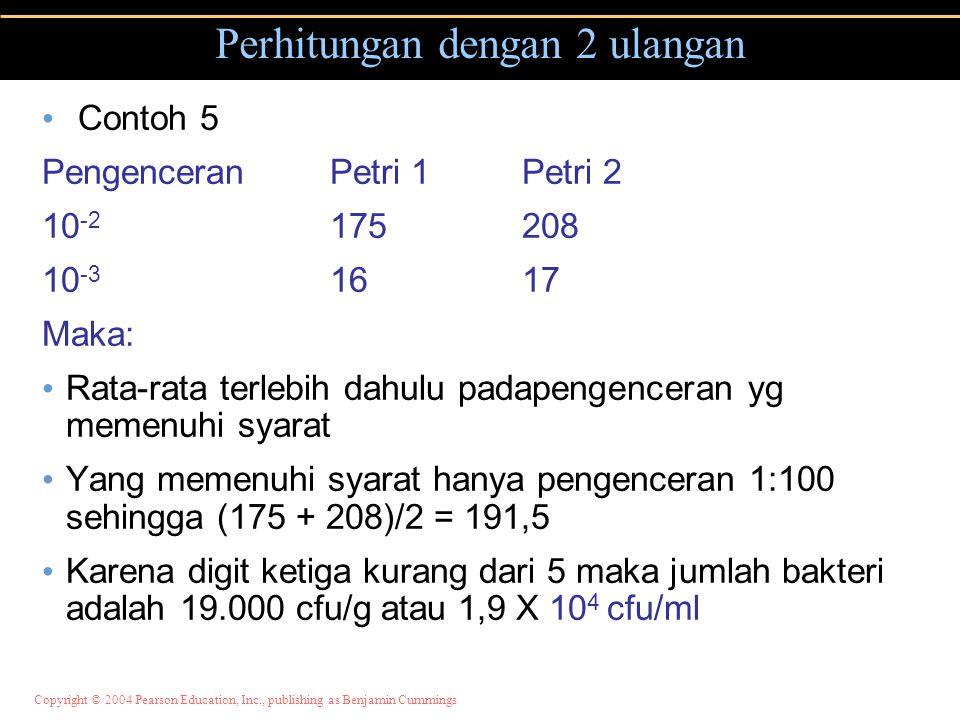 Copyright © 2004 Pearson Education, Inc., publishing as Benjamin Cummings Perhitungan dengan 2 ulangan Contoh 5 PengenceranPetri 1Petri 2 10 -2 175208 10 -3 1617 Maka: Rata-rata terlebih dahulu padapengenceran yg memenuhi syarat Yang memenuhi syarat hanya pengenceran 1:100 sehingga (175 + 208)/2 = 191,5 Karena digit ketiga kurang dari 5 maka jumlah bakteri adalah 19.000 cfu/g atau 1,9 X 10 4 cfu/ml
