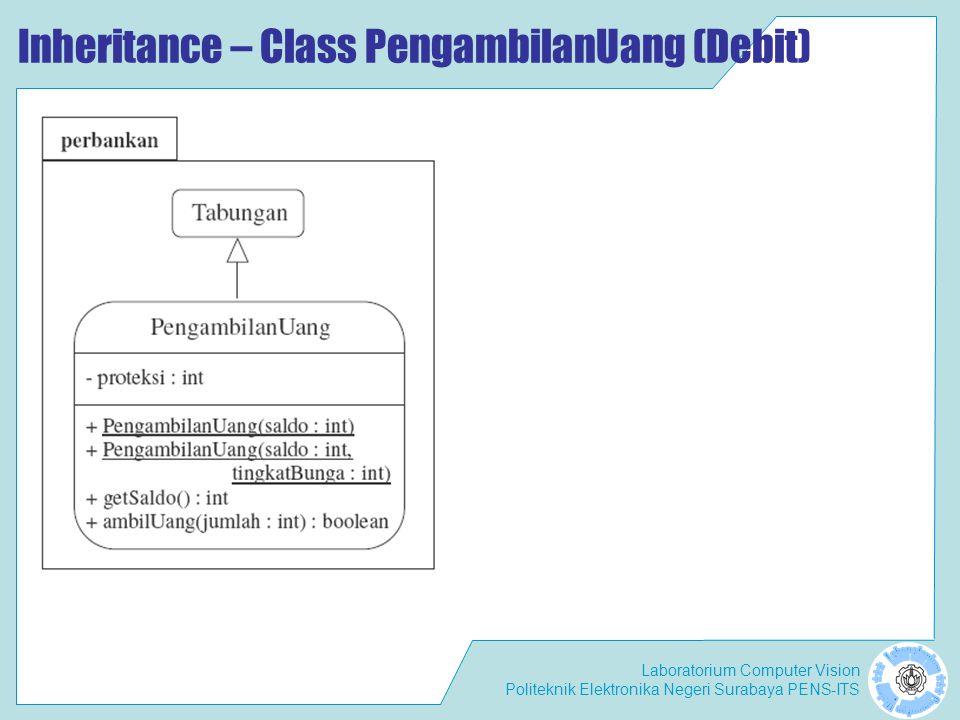 Laboratorium Computer Vision Politeknik Elektronika Negeri Surabaya PENS-ITS Inheritance – Class PengambilanUang (Debit)