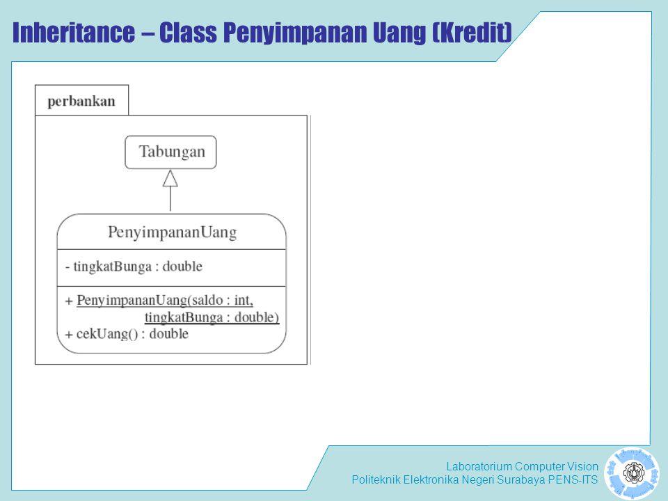 Laboratorium Computer Vision Politeknik Elektronika Negeri Surabaya PENS-ITS Inheritance – Class Penyimpanan Uang (Kredit)