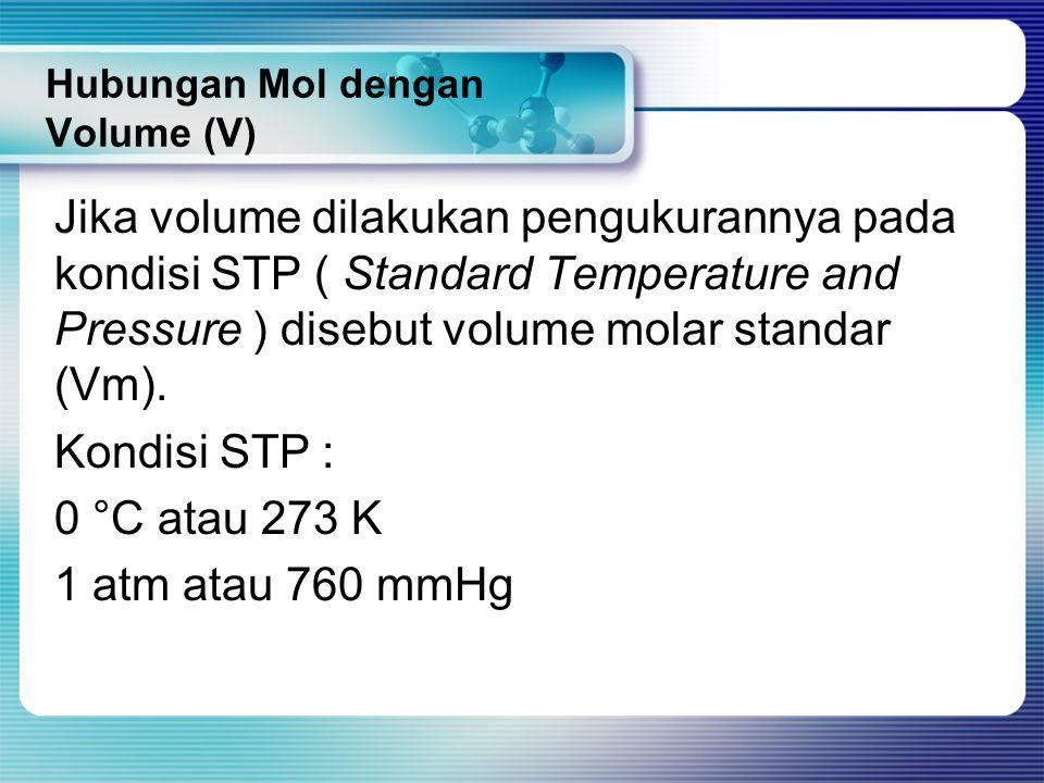 Hubungan Mol dengan Volume (V) Jika volume dilakukan pengukurannya pada kondisi STP ( Standard Temperature and Pressure ) disebut volume molar standar