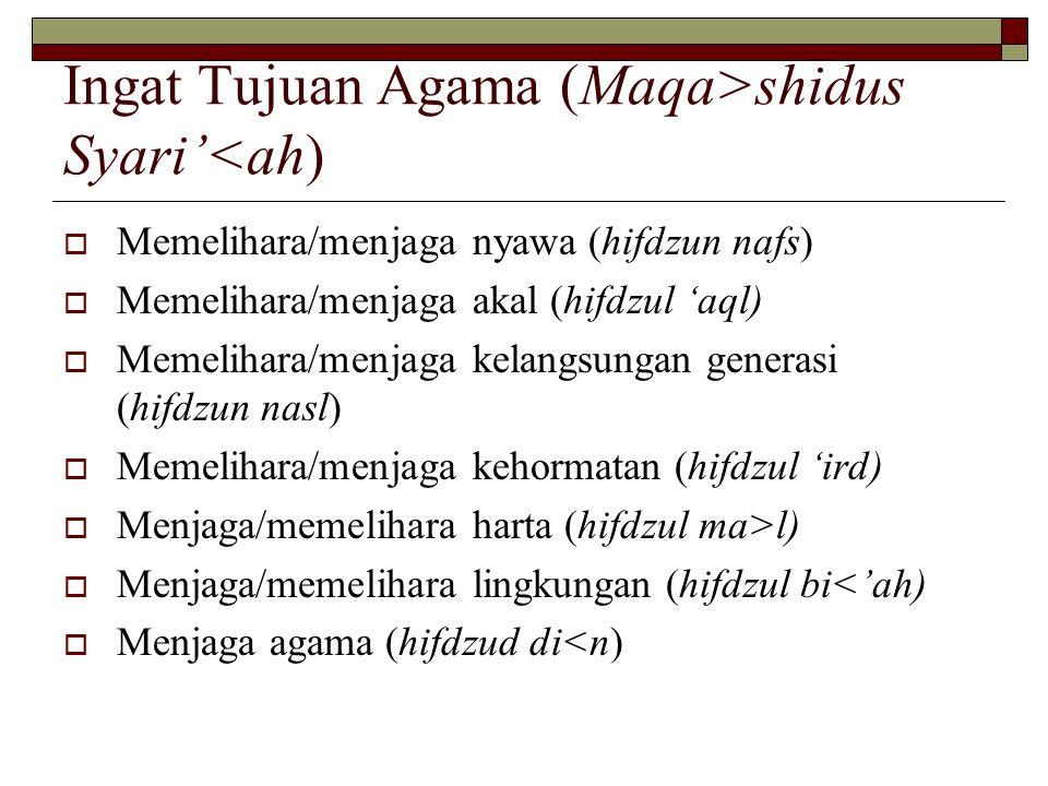 Ingat Tujuan Agama ( Maqa>shidus Syari'<ah )  Memelihara/menjaga nyawa (hifdzun nafs)  Memelihara/menjaga akal (hifdzul 'aql)  Memelihara/menjaga kelangsungan generasi (hifdzun nasl)  Memelihara/menjaga kehormatan (hifdzul 'ird)  Menjaga/memelihara harta ( hifdzul ma>l )  Menjaga/memelihara lingkungan ( hifdzul bi<'ah )  Menjaga agama ( hifdzud di<n )