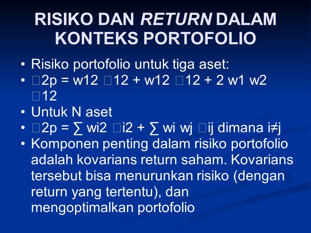 RISIKO DAN RETURN DALAM KONTEKS PORTOFOLIO Risiko portofolio untuk tiga aset:  2p = w12  12 + w12  12 + 2 w1 w2  12 Untuk N aset  2p = ∑ wi2  i2