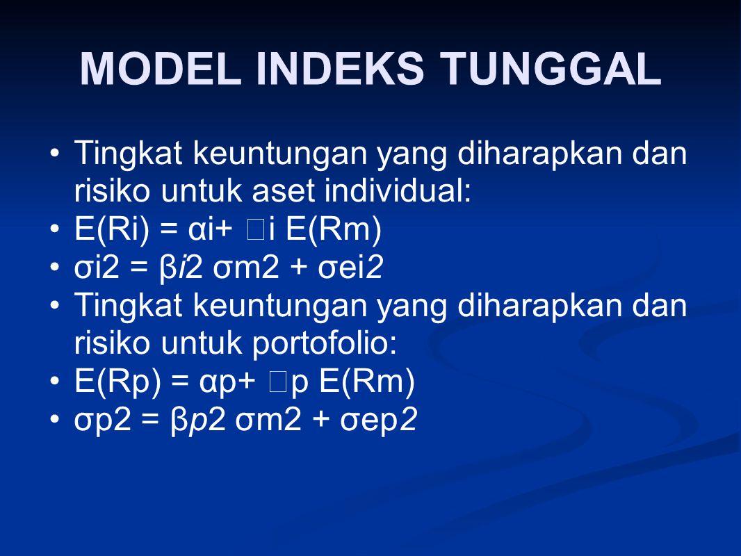 MODEL INDEKS TUNGGAL Tingkat keuntungan yang diharapkan dan risiko untuk aset individual: E(Ri) = αi+  i E(Rm) σi2 = βi2 σm2 + σei2 Tingkat keuntunga
