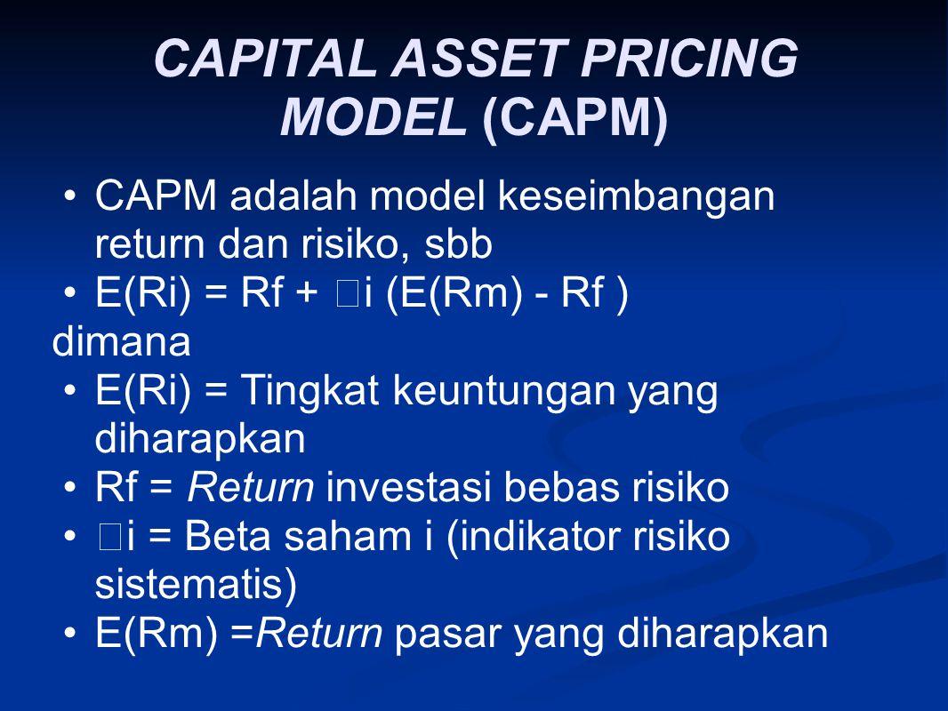 CAPITAL ASSET PRICING MODEL (CAPM) CAPM adalah model keseimbangan return dan risiko, sbb E(Ri) = Rf +  i (E(Rm) ‑ Rf ) dimana E(Ri) = Tingkat keuntun