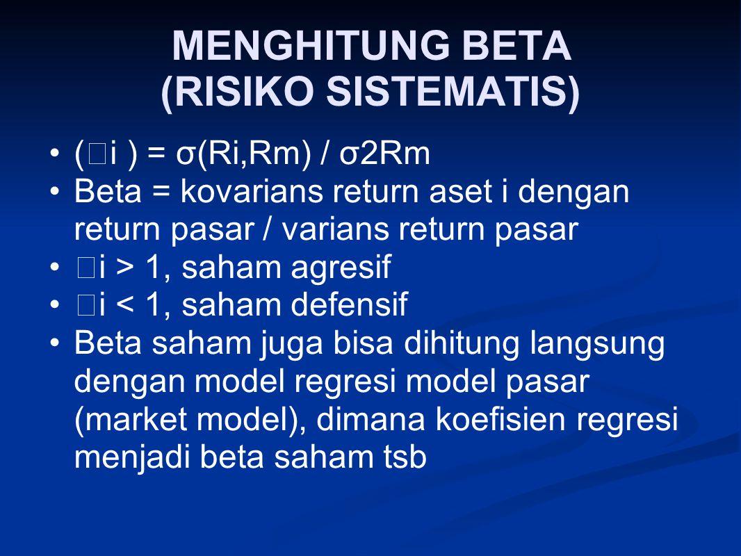 MENGHITUNG BETA (RISIKO SISTEMATIS) (  i ) = σ(Ri,Rm) / σ2Rm Beta = kovarians return aset i dengan return pasar / varians return pasar  i > 1, saham