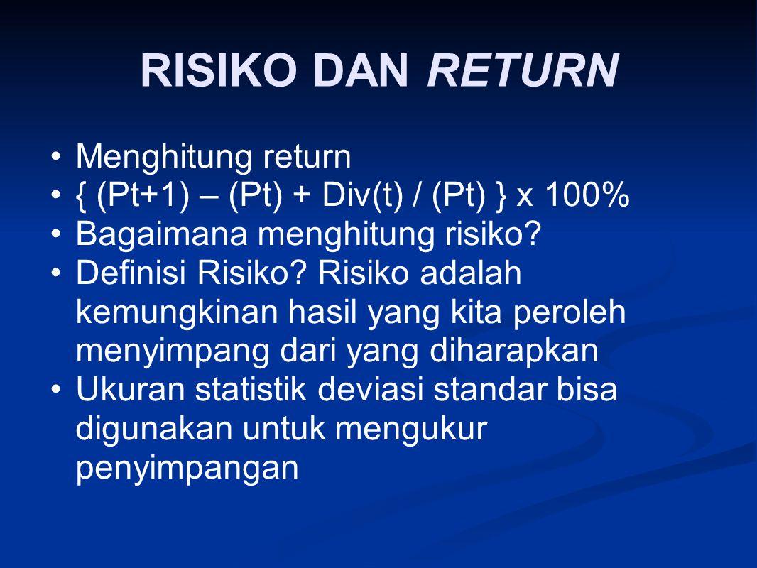 RISIKO DAN RETURN Menghitung return { (Pt+1) – (Pt) + Div(t) / (Pt) } x 100% Bagaimana menghitung risiko? Definisi Risiko? Risiko adalah kemungkinan h