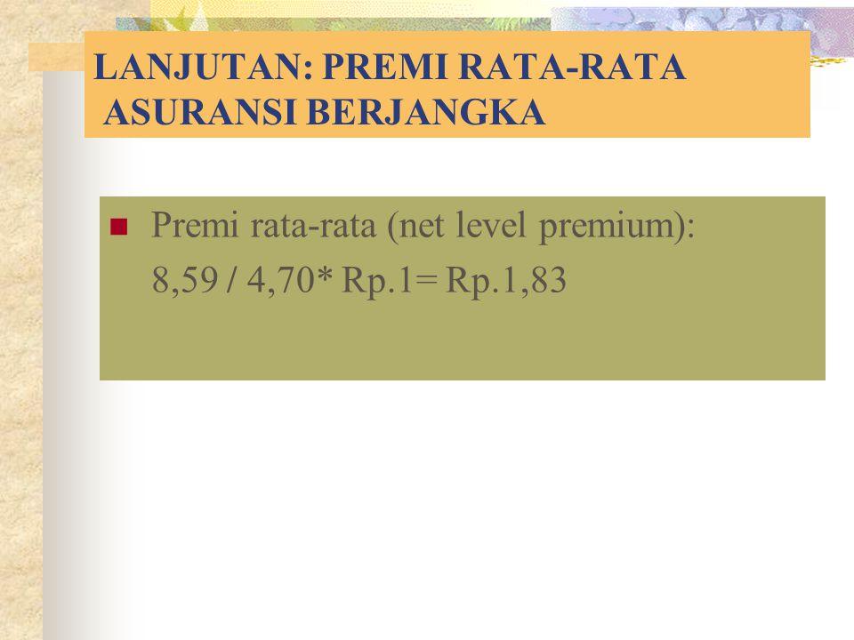 LANJUTAN: PREMI RATA-RATA ASURANSI BERJANGKA Premi rata-rata (net level premium): 8,59 / 4,70* Rp.1= Rp.1,83