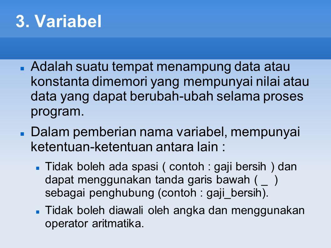 3. Variabel Adalah suatu tempat menampung data atau konstanta dimemori yang mempunyai nilai atau data yang dapat berubah-ubah selama proses program. D