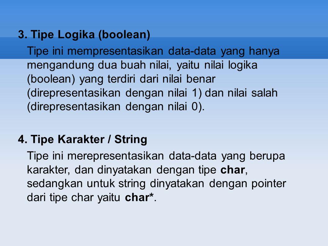 3. Tipe Logika (boolean) Tipe ini mempresentasikan data-data yang hanya mengandung dua buah nilai, yaitu nilai logika (boolean) yang terdiri dari nila