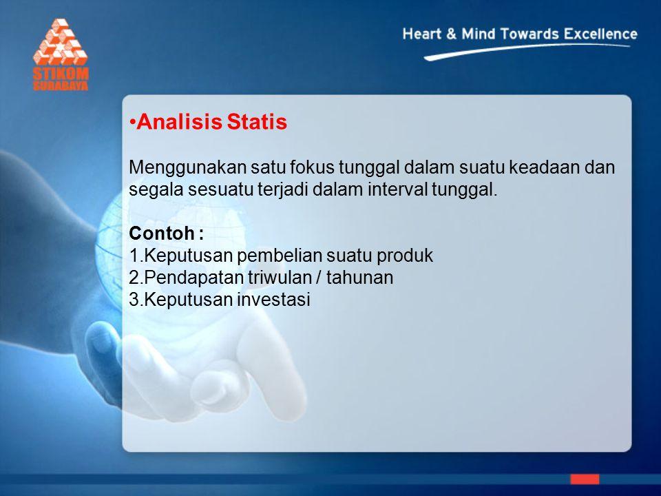 Analisis Statis Menggunakan satu fokus tunggal dalam suatu keadaan dan segala sesuatu terjadi dalam interval tunggal.