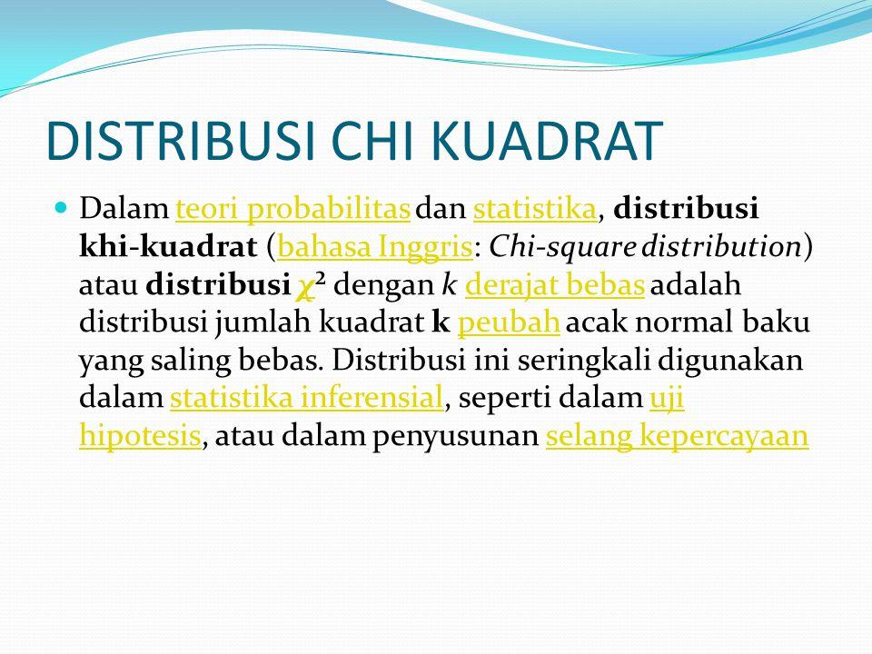 DISTRIBUSI CHI KUADRAT Dalam teori probabilitas dan statistika, distribusi khi-kuadrat (bahasa Inggris: Chi-square distribution) atau distribusi χ² de