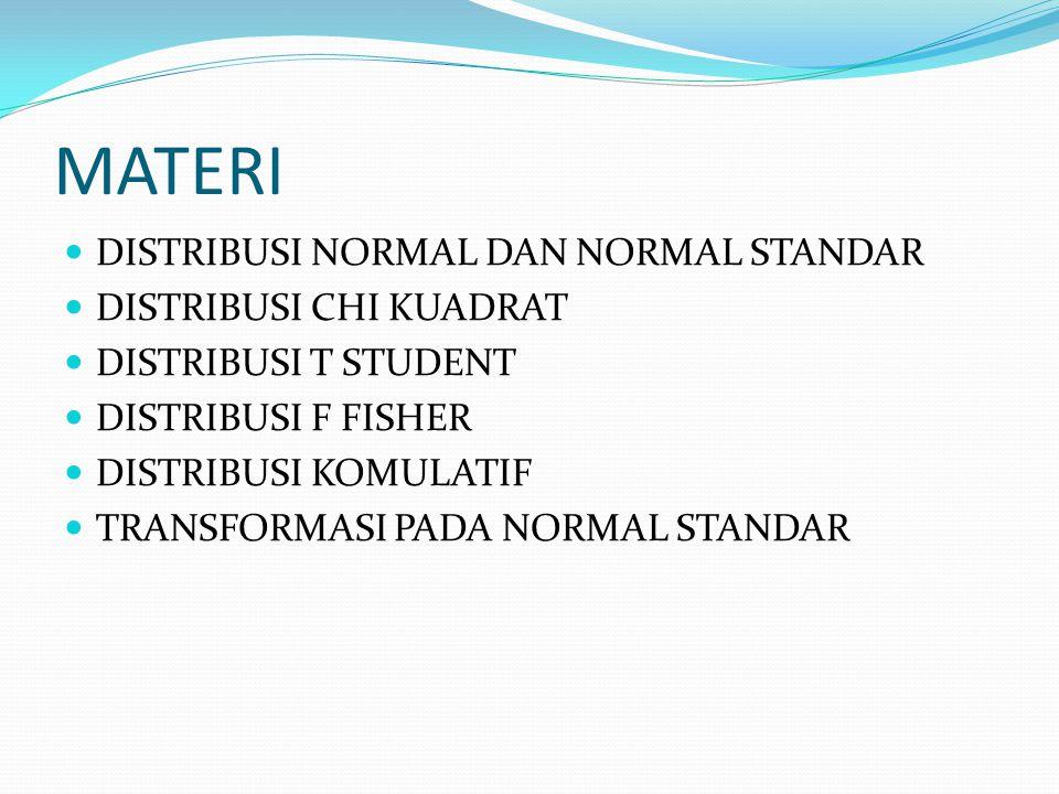 MATERI DISTRIBUSI NORMAL DAN NORMAL STANDAR DISTRIBUSI CHI KUADRAT DISTRIBUSI T STUDENT DISTRIBUSI F FISHER DISTRIBUSI KOMULATIF TRANSFORMASI PADA NOR
