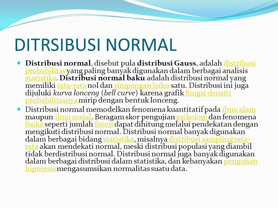 DITRSIBUSI NORMAL Distribusi normal, disebut pula distribusi Gauss, adalah distribusi probabilitas yang paling banyak digunakan dalam berbagai analisi