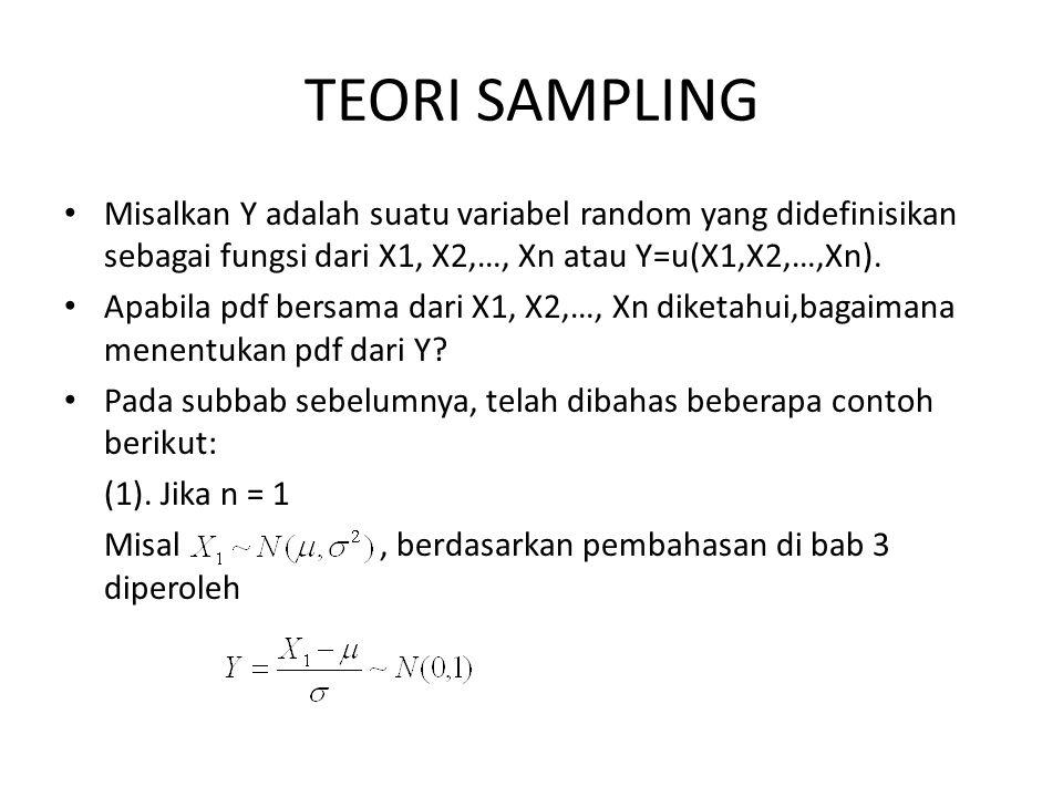 TEORI SAMPLING Misalkan Y adalah suatu variabel random yang didefinisikan sebagai fungsi dari X1, X2,…, Xn atau Y=u(X1,X2,…,Xn). Apabila pdf bersama d