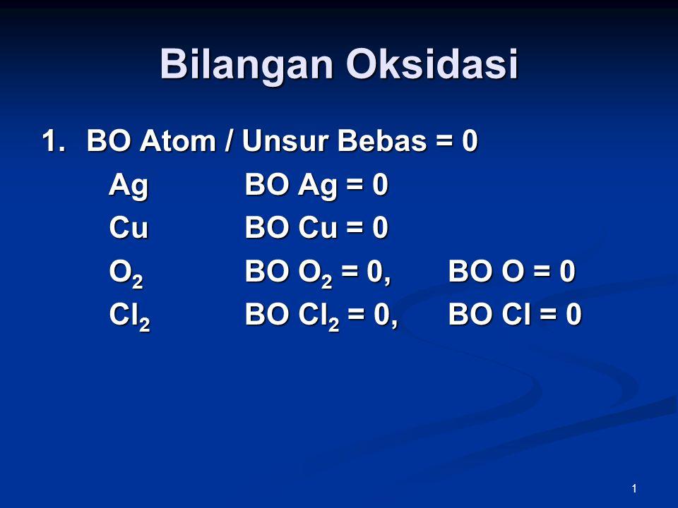 1 Bilangan Oksidasi 1.BO Atom / Unsur Bebas = 0 AgBO Ag = 0 CuBO Cu = 0 O 2 BO O 2 = 0,BO O = 0 Cl 2 BO Cl 2 = 0,BO Cl = 0
