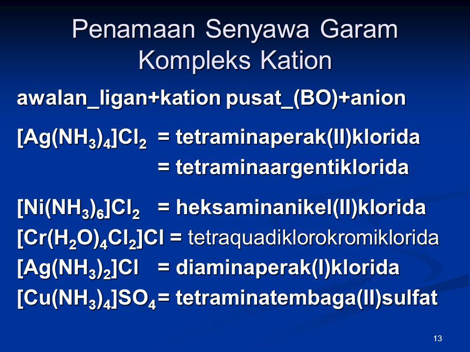 13 Penamaan Senyawa Garam Kompleks Kation awalan_ligan+kation pusat_(BO)+anion [Ag(NH 3 ) 4 ]Cl 2 = tetraminaperak(II)klorida = tetraminaargentiklorid