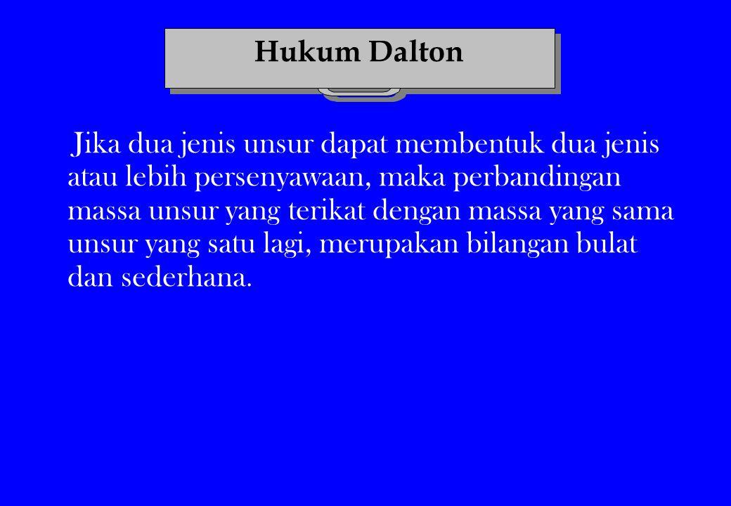 Contoh : Unsur C dan O dapat membentuk Senyawa ke-1 = CO Senyawa ke-2 = CO 2 Keterangan : unsur C adalah unsur pertama unsur O adalah unsur kedua Maka : O pada senyawa pertama : O pada senyawa kedua = 1 : 2 Menurut Hukum Dalton Menurut Hukum Dalton menu