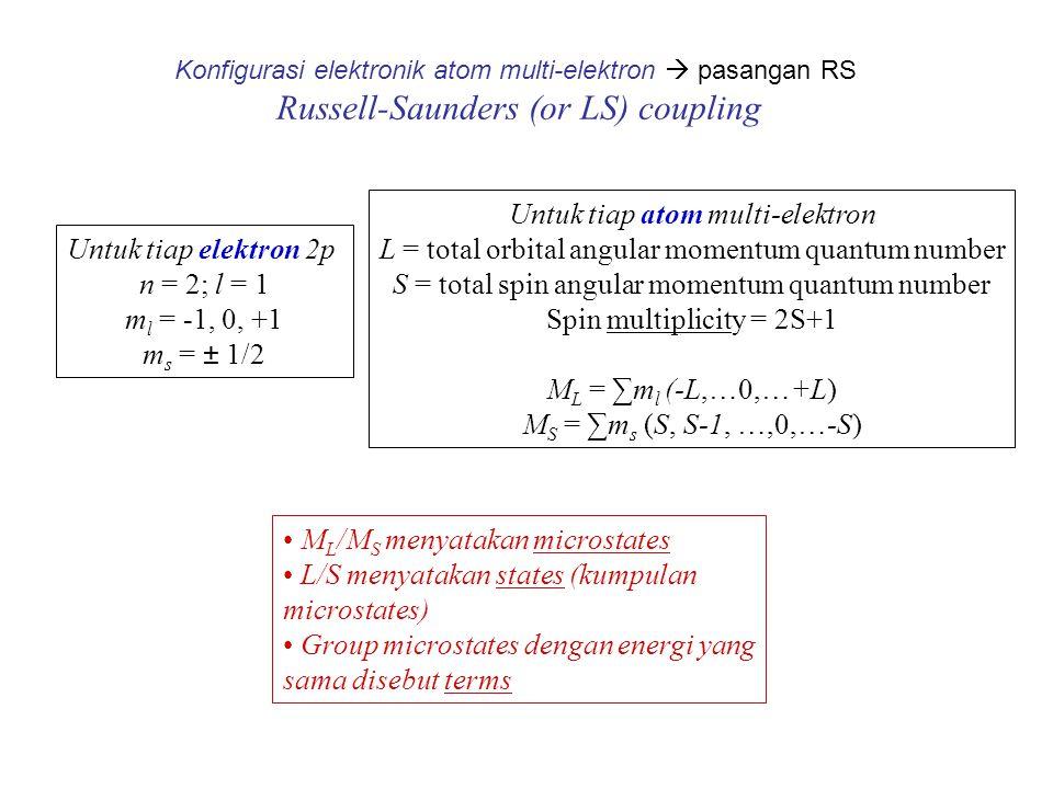 Konfigurasi elektronik atom multi-elektron  pasangan RS Russell-Saunders (or LS) coupling Untuk tiap elektron 2p n = 2; l = 1 m l = -1, 0, +1 m s = ±