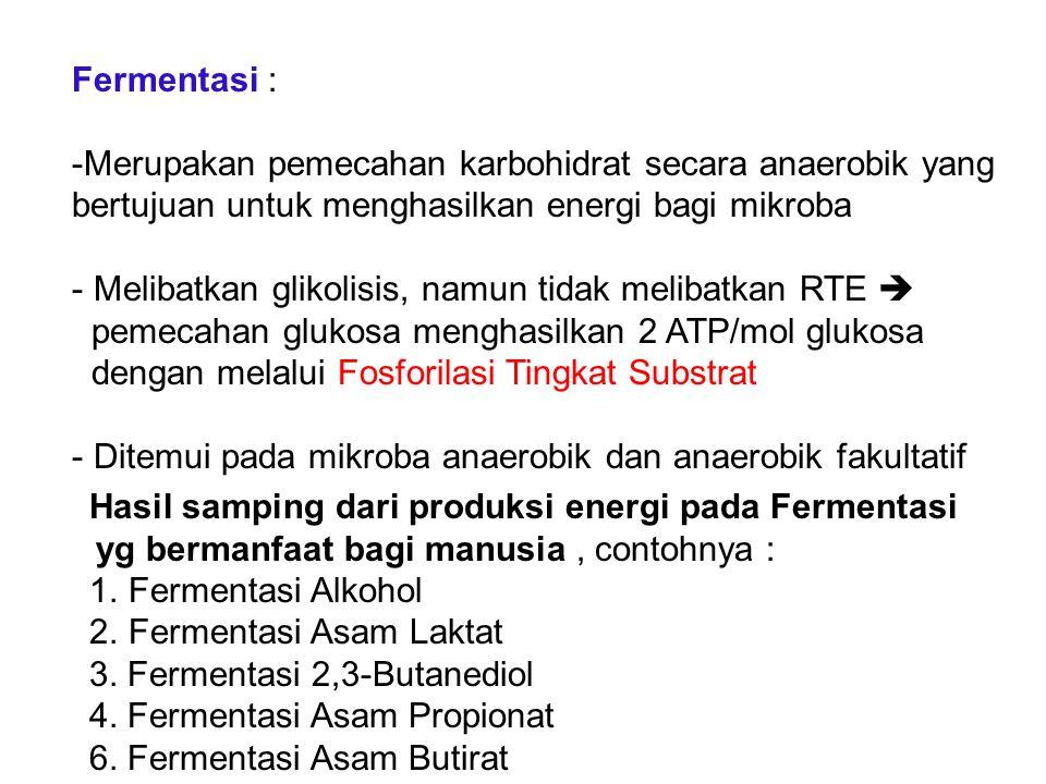 Hasil samping dari produksi energi pada Fermentasi yg bermanfaat bagi manusia, contohnya : 1.Fermentasi Alkohol 2.Fermentasi Asam Laktat 3. Fermentasi