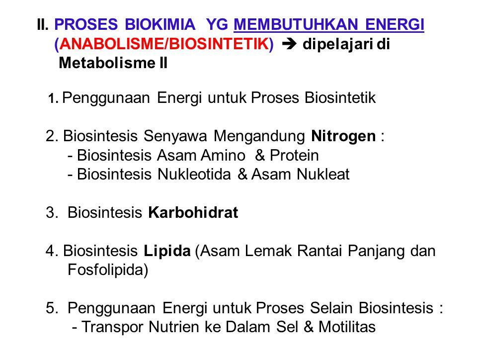 II. PROSES BIOKIMIA YG MEMBUTUHKAN ENERGI (ANABOLISME/BIOSINTETIK)  dipelajari di Metabolisme II 1. Penggunaan Energi untuk Proses Biosintetik 2. Bio