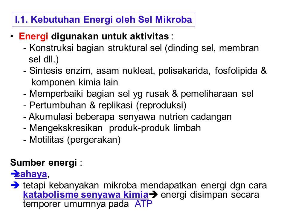 I.1. Kebutuhan Energi oleh Sel Mikroba Energi digunakan untuk aktivitas : - Konstruksi bagian struktural sel (dinding sel, membran sel dll.) - Sintesi
