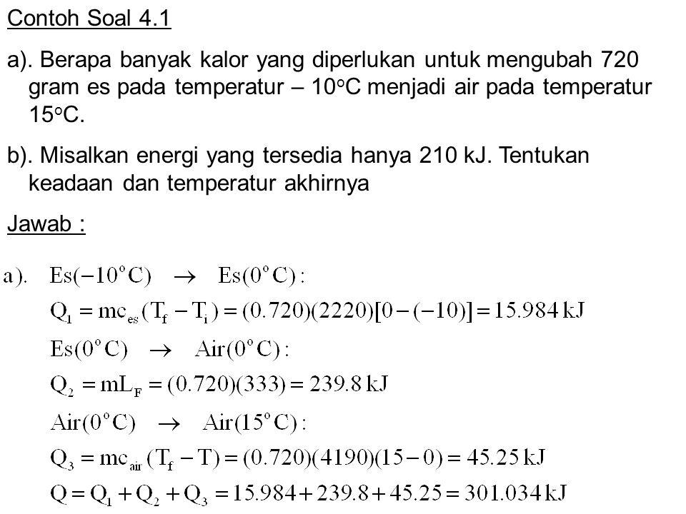 Contoh Soal 4.1 a). Berapa banyak kalor yang diperlukan untuk mengubah 720 gram es pada temperatur – 10 o C menjadi air pada temperatur 15 o C. b). Mi