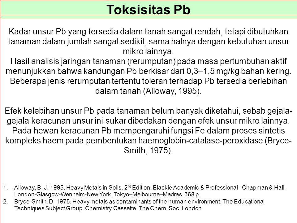 Toksisitas Pb Kadar unsur Pb yang tersedia dalam tanah sangat rendah, tetapi dibutuhkan tanaman dalam jumlah sangat sedikit, sama halnya dengan kebutu