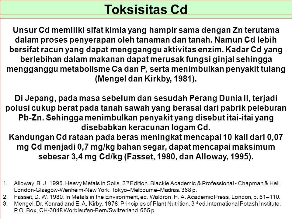 Toksisitas Cd Unsur Cd memiliki sifat kimia yang hampir sama dengan Zn terutama dalam proses penyerapan oleh tanaman dan tanah. Namun Cd lebih bersifa