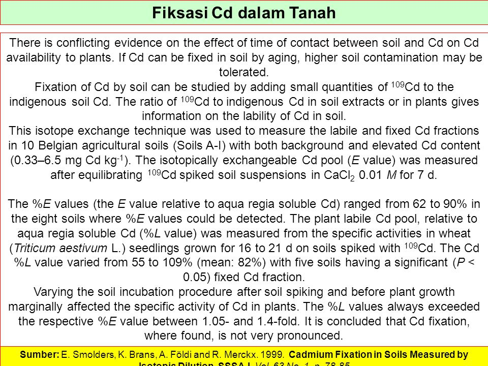 Fiksasi Cd dalam Tanah There is conflicting evidence on the effect of time of contact between soil and Cd on Cd availability to plants. If Cd can be f
