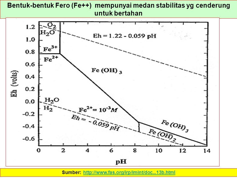 Bentuk-bentuk Fero (Fe++) mempunyai medan stabilitas yg cenderung untuk bertahan Sumber: http://www.fas.org/irp/imint/doc...13b.htmlhttp://www.fas.org