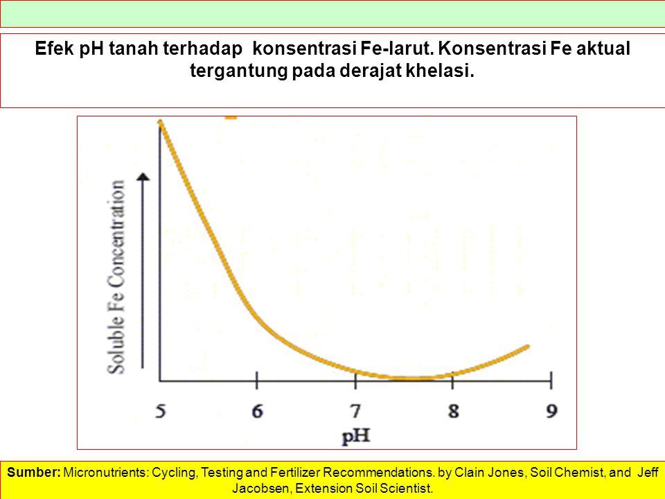 Efek pH tanah terhadap konsentrasi Fe-larut. Konsentrasi Fe aktual tergantung pada derajat khelasi. Sumber: Micronutrients: Cycling, Testing and Ferti