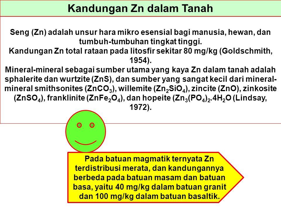 Kandungan Zn dalam Tanah Seng (Zn) adalah unsur hara mikro esensial bagi manusia, hewan, dan tumbuh-tumbuhan tingkat tinggi. Kandungan Zn total rataan
